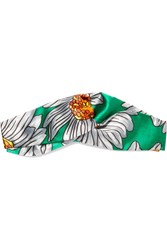 Gucci Twisted Printed Silk Satin Headband Green