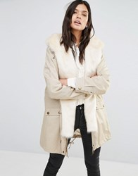 Little Mistress Parka With Faux Fur Hood Cream Outer With Cre