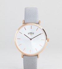 Limit Faux Suede Leather Watch In Grey Exclusive To Asos 36Mm