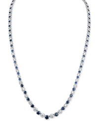 Macy's Sapphire 4 1 5 Ct. T.W. And Diamond 3 Ct. T.W. Fancy Collar Necklace In 14K White Gold