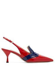 Prada Bi Colour Patent Leather Slingback Pumps Red Navy