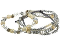 Chan Luu Set Of 3 Crystal Bracelets Silver Mix Bracelet Pewter