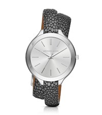 Michael Kors Slim Runway Silver Tone And Leather Wrap Watch