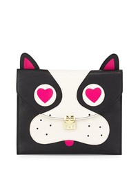 Betsey Johnson Pug Faux Leather Clutch Bag Black