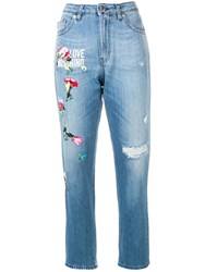 Love Moschino Embroidered Details Distressed Jeans Blue