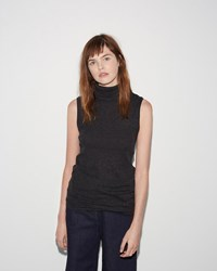 M. Martin Micro Rib Sleeveless Turtleneck Black Grey