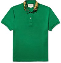 Gucci Slim Fit Embroidered Stretch Cotton Pique Polo Shirt Green