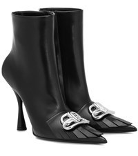 Balenciaga Bb Knife Leather Ankle Boots Black
