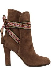 Moschino Jacquard Trimmed Suede Ankle Boots Brown