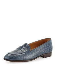Gravati Crocodile Embossed Penny Loafer Denim Dnm