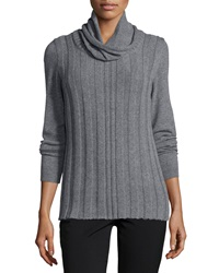 Lafayette 148 New York Long Sleeve Cowl Neck Cashmere Sweater Nickel Melange