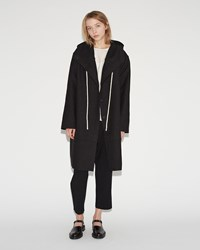 Sara Lanzi Wool Cotton Hooded Coat Black