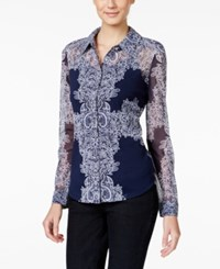 Inc International Concepts Printed Shirt Only At Macy's Placed Lace