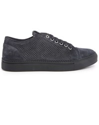 Armani Collezioni Blue Perforated Suede Sneakers