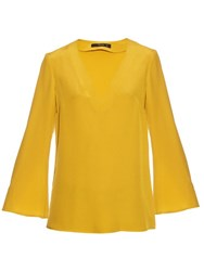 Etro V Neck Silk Crepe Blouse Yellow
