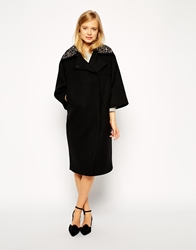 Asos Coat With Embellished Collar In Cocoon Fit Black