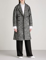Moandco. Notch Lapel Double Breasted Tweed Coat Black And White