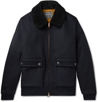 Private White V.C. Shearling Trimmed Wool Blouson Jacket Blue