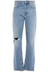 Iro Woman Distressed High Rise Straight Leg Jeans Light Denim
