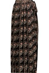 Etoile Isabel Marant Sesley Floral Print Silk Voile Maxi Wrap Skirt Multi