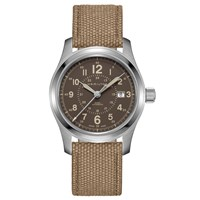Hamilton H70605993 Men's Khaki Field Automatic Date Fabric Strap Watch Brown