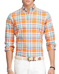 Polo Ralph Lauren Plaid Oxford Classic Fit Button Down Shirt Orange Royal