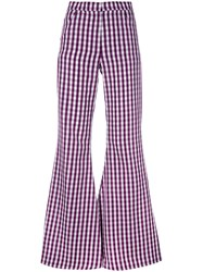 House Of Holland Flared Gingham Trousers Women Cotton Polyester 14 Pink Purple
