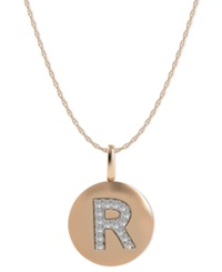 Macy's 14K Rose Gold Necklace Diamond Accent Letter R Disk Pendant