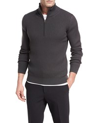 Vince Ribbed Quarter Zip Wool Pullover Burntwood