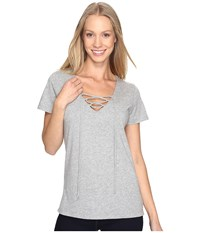 Mod O Doc Supreme Jersey Short Sleeve Lace Up V Neck Tee Smoke Heather Women's Clothing Gray