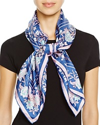 Liberty London Tree Of Life Square Silk Scarf Navy