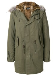 Yves Salomon Panelled Hood Parka Green