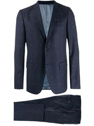 Gucci Monaco Bees And Hearts Wool Suit Blue