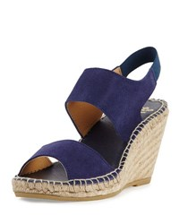 Andre Assous Brenda Suede Espadrille Wedge Sandal Navy