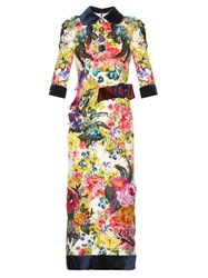 Dolce And Gabbana Floral Applique Print Silk Blend Dress Red Print