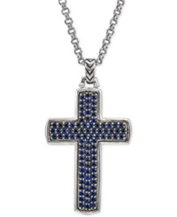 Esquire Men's Jewelry Sapphire Cross Pendant Necklace 2 Ct. T.W. In Sterling Silver Created For Macy's Blue