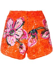 Manish Arora Floral Pattern Sequin Shorts Orange