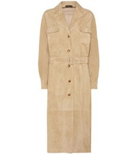 The Row Zoe Suede Coat Beige