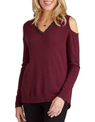 Democracy Cold Shoulder V Neck Sweater Charcoal