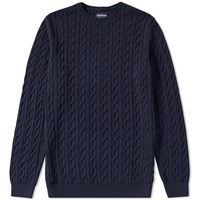Barbour Cotton Cashmere Cable Crew Knit Blue