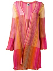 M Missoni Patchwork Frill Trim Cardigan Pink Purple