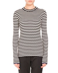 Long Sleeve Optical Stripe Top Black White White Black