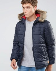 Jack And Jones Padded Jacket With Faux Fur Hood Navy
