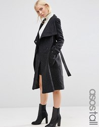 Asos Tall Wool Blend Coat With Funnel Neck Black