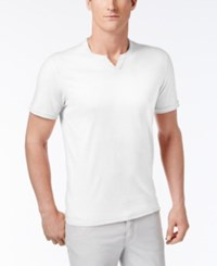 Inc International Concepts Men's Soft Touch Split Neck T Shirt Only At Macy's White Pure