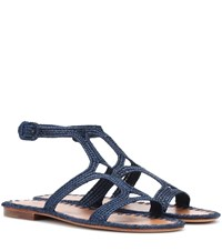 Carrie Forbes Raffia Sandals Blue