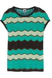 M Missoni Crochet Knit Cotton Blend Top Green
