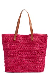Nordstrom Packable Raffia Crochet Tote Pink Pink Berry