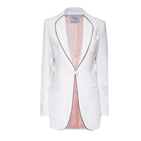 Hebe Studio The Hebe Suit White Smoking Blazer Black White