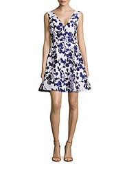 Betsey Johnson Floral Fit And Flare Dress Ivory Navy